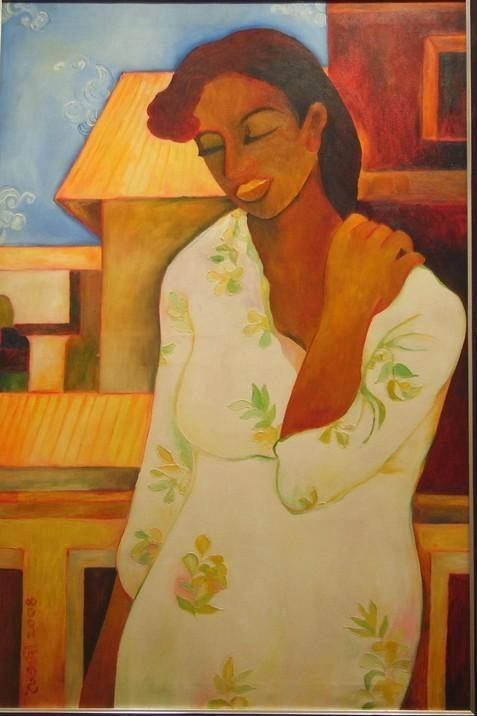 Standing Alone by Chaitali Chatterjee, Decorative, Decorative Painting, Oil on Canvas, Brown color