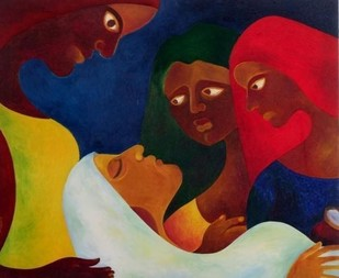Healers by Chaitali Chatterjee, Decorative, Decorative Painting, Oil on Canvas, Brown color