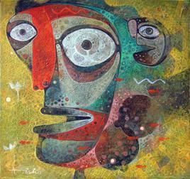 The Fish 01 by Atish Mukherjee, Expressionism, Expressionism Painting, Tempera on Canvas, Brown color