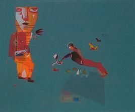 Untitled by Shambhu Prasad Reddy, Conceptual, Conceptual Painting, Acrylic on Canvas, Green color