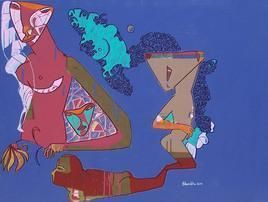 Untitled by Shambhu Prasad Reddy, Conceptual, Conceptual Painting, Acrylic on Canvas, Blue color