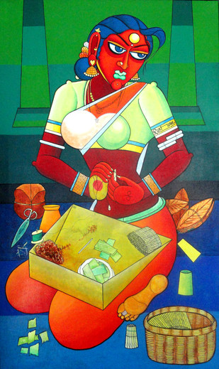 Life Time Laber by M D Rustum, Painting, Acrylic on Canvas, Green color