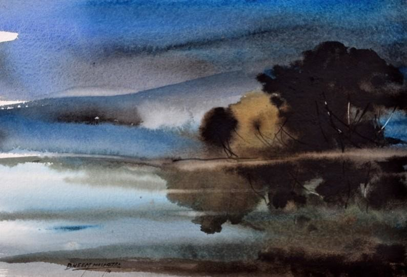 Monsoon by Bheem Malhotra, Impressionism, Impressionism Painting, Watercolor on Paper, Blue color