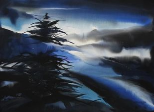 Shimla by Night by Bheem Malhotra, Impressionism, Impressionism Painting, Watercolor on Paper, Blue color