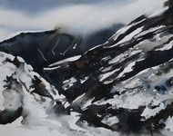 Rohtang Pass by Bheem Malhotra, Impressionism, Impressionism Painting, Watercolor on Paper, Gray color