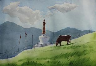 Hills 2 by Raktim Chatterjee, , , Green color
