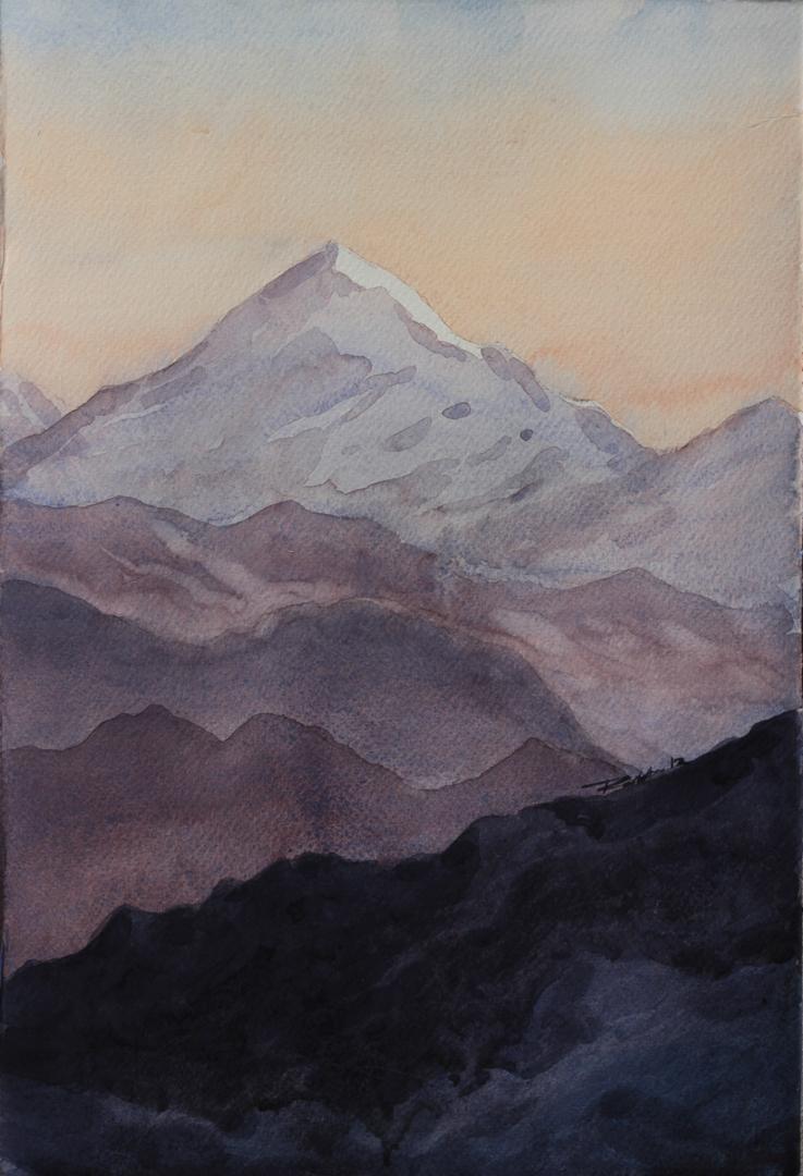 Kanchandjongha by Raktim Chatterjee, Painting, Watercolor on Paper, Gray color