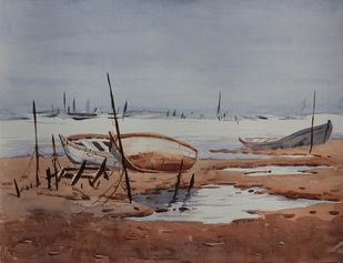 Rest 2 by Raktim Chatterjee, Painting, Watercolor on Paper, Brown color
