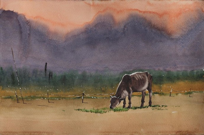 The Cow by Raktim Chatterjee, Painting, Watercolor on Paper, Brown color