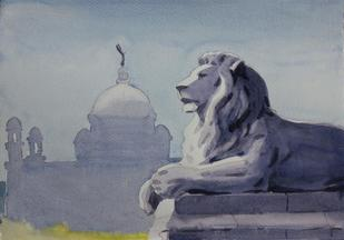 The Lion by Raktim Chatterjee, , , Brown color