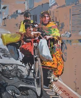 Social Ties V by Ranjan Kumar Mallik, Painting, Acrylic on Canvas, Brown color