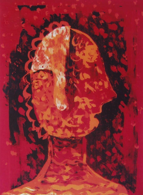 Untitled by Rakhee Kumari, Naive, Naive Serigraph, Serigraph on Paper, Red color