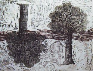 Up & Down by Rakhee Kumari, Illustration, Illustration Printmaking, Wood Cut on Paper, Gray color