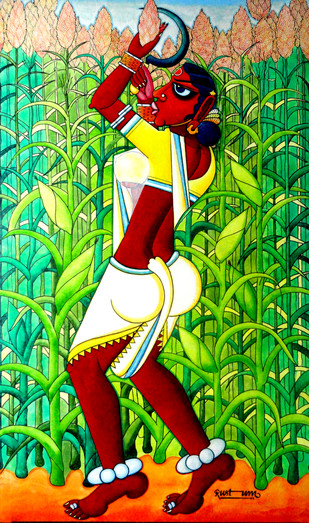 Rural India by M D Rustum, Painting, Acrylic on Canvas, Green color