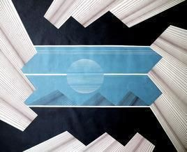 Space - XV by S K Sahni, Geometrical, Geometrical Painting, Acrylic on Canvas, Gray color