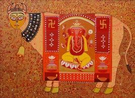 Kamdhenu And Shree Ganesha 3 by Bhaskar Lahiri, , , Brown color