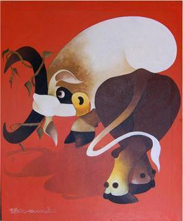 Mood Of Ox by Uttam Manna, , , Brown color