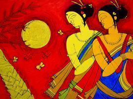 Tribal Women by Jiaur Rahman, , , Red color