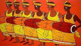 Tribal Dance by Jiaur Rahman, , , Orange color