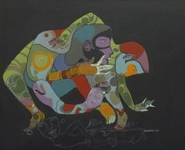 Untitled by Shambhu Prasad Reddy, Conceptual, Conceptual Painting, Acrylic on Canvas, Gray color