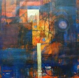 Untitled by Stalin P J, Abstract, Abstract Painting, Mixed Media on Canvas, Brown color