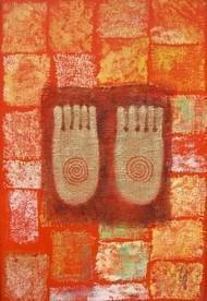 Buddha Charan by Vijaylaxmi D Mer, Impressionism Painting, Mixed Media on Canvas, Brown color