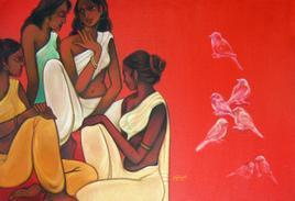 Gossip by Vijaylaxmi D Mer, , , Red color