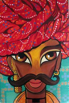 Rajasthani Man by Niloufer Wadia, , , Brown color
