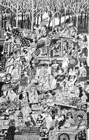 Village Bazaar by Arun K Mishra, Illustration, Illustration Painting, Pen & Ink on Canvas, Gray color