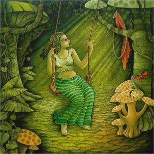 In Missive Mood by Ramchandra Pokale, , , Green color