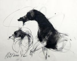 Motion V by Mithun Dutta, Illustration, Illustration Drawing, Charcoal on Paper, Gray color