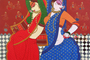 Apsara 2 by Varsha Kharatmal, Traditional, Traditional Painting, Acrylic on Canvas, Red color