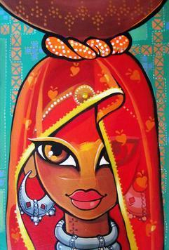 Rajasthani Woman by Niloufer Wadia, , , Brown color