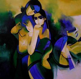 Lovely Couple - 2000 by Arvind Kolapkar, , , Blue color
