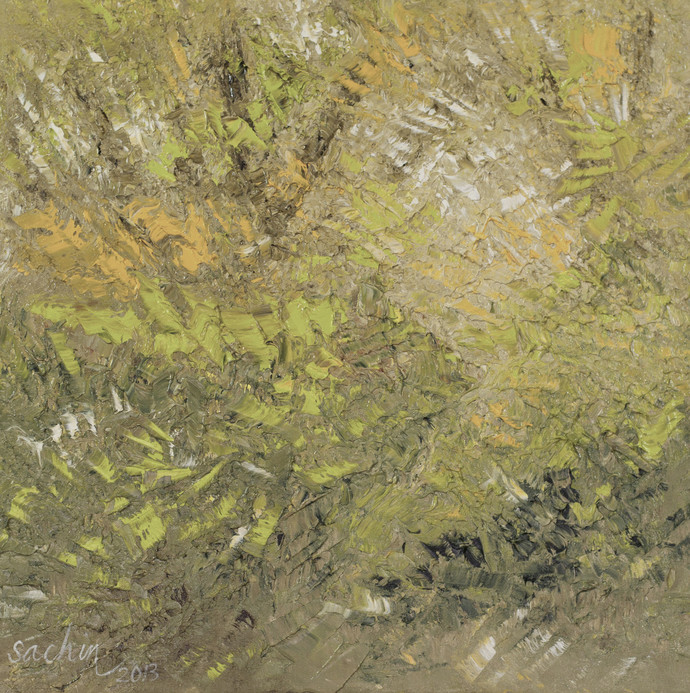 Through The Woods by Sachin Upadhye, Impressionism, Impressionism Painting, Oil on Canvas, Beige color