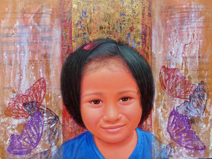 Childhood 30 by Anil Kumar Yadav, Conceptual, Conceptual Painting, Acrylic on Canvas, Brown color