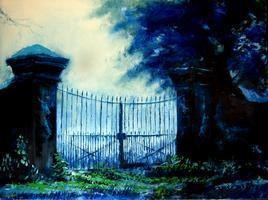 Prohibited by Sachin Upadhye, Impressionism, Impressionism Painting, Oil on Canvas, Blue color