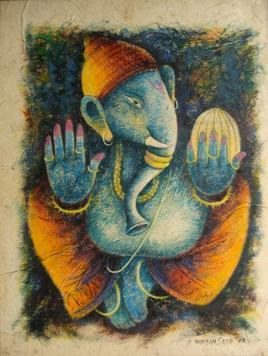 Ganapati - IV by Anirban Seth, , , Beige color