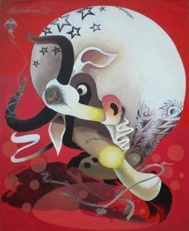 Kite And Bull by Uttam Manna, , , Brown color