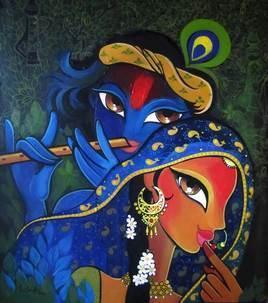 Radha Krishna by Niloufer Wadia, , , Blue color