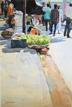 Selling Bananas by Ramesh Jhawar, , , Beige color