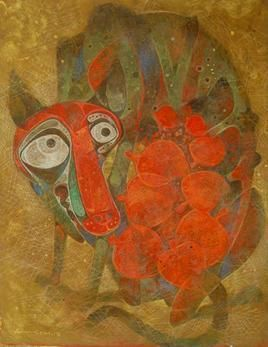 Mother 01 by Atish Mukherjee, Expressionism, Expressionism Painting, Mixed Media on Canvas, Brown color