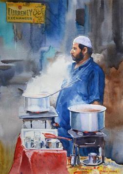 The Chaiwallah by Ramesh Jhawar, , , Brown color