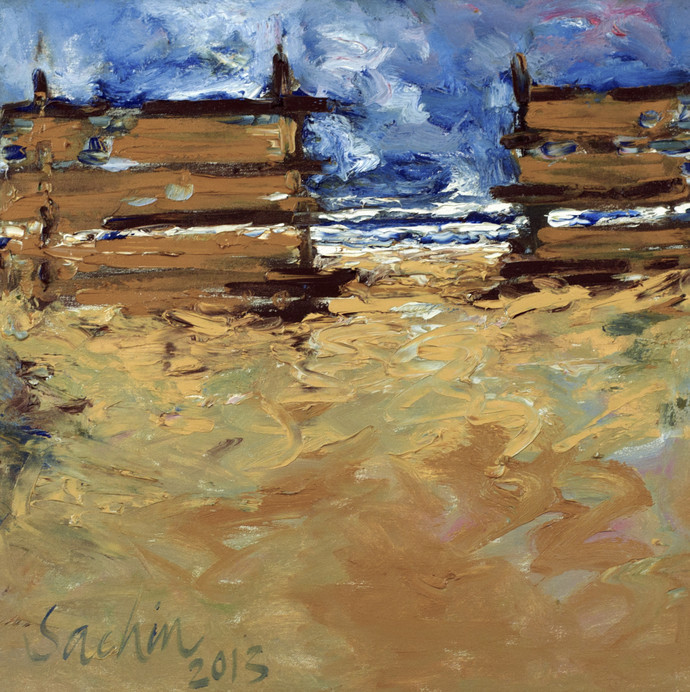 You are Never Lonely on The Beach by Sachin Upadhye, Impressionism, Impressionism Painting, Oil on Canvas, Brown color