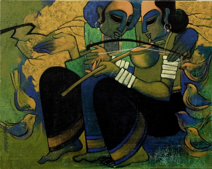 Bandish by Sarang Waghmare, Decorative, Decorative Painting, Acrylic on Canvas, Green color