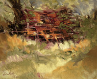 Hut by Sachin Upadhye, Impressionism, Impressionism Painting, Oil on Canvas, Brown color