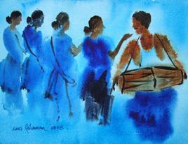 Tribal Dance by Jiaur Rahman, , , Cyan color