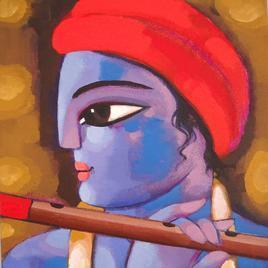 Krishna by Sekhar Roy, , , Brown color
