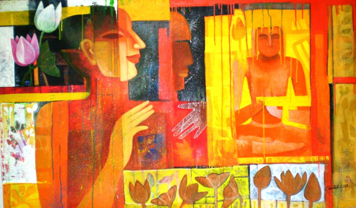 Colour of Love 13 by Chaitali Mukherjee, Expressionism, Expressionism Painting, Acrylic on Canvas, Orange color