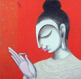 Buddha -1 by Varsha Kharatmal, , , Red color